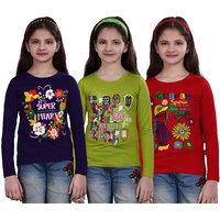 SINIMINI GIRLS PRINTED FULL SLEEVE TSHIRT ( PACK OF 3 )SMF700_PURPLE_MEGANDI-RED