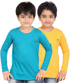 DONGLI BOYS MARVELLOUS FULL SLEEVE T-SHIRT (PACK OF 2)DLF450_PETROL_GY