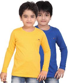 DONGLI BOYS MARVELLOUS FULL SLEEVE T-SHIRT (PACK OF 2)DLF450_GYELLOW_RBLUE