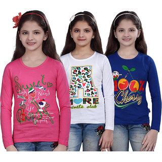 SINIMINI GIRLS PRINTED FULL SLEEVE TSHIRT ( PACK OF 3 )SMF700-MPINK_WHITE_RBLUE
