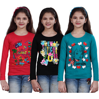 SINIMINI GIRLS PRINTED FULL SLEEVE TSHIRT ( PACK OF 3 )SMF700_7_15_1_TPINK_BLACK