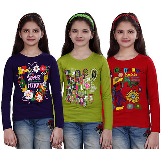SINIMINI GIRLS PRINTED FULL SLEEVE TSHIRT ( PACK OF 3 )SMF700_PURPLE_MEGANDI-RED