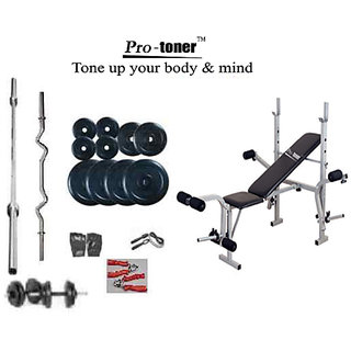 PROTONER WEIGHT LIFTING PACKAGE 52 KG WEIGHT SET + IMPORTED PROTONER MULTI BENCH