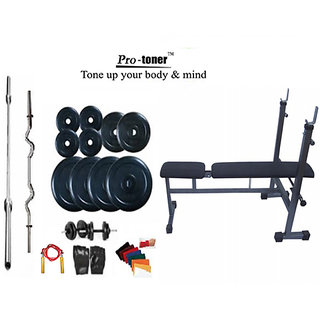 WEIGHT LIFTING HOME GYM 62 KG+INC/DEC/FLAT BENCH+4 RODS(1 ZIG ZAG)+ACCESSORIES