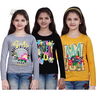 SINIMINI GIRLS PRINTED FULL SLEEVE TSHIRT ( PACK OF 3 )SMF700_WM_BLACK_GY