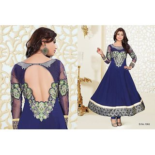 Blue Colour Bamberg Anarkali Salwar