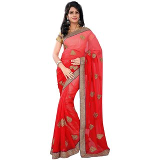 Florence Red Chiffon Embroidered Saree (FL-10545)
