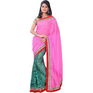 florence clothing company Green Brasso Lace Saree With Blouse