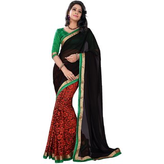 florence clothing company Red Brasso Lace Saree With Blouse