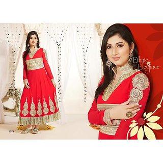 Red Colour Viscose Anarkali Salwar Suit (Unstitched)