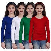 SINIMINI GIRLS FULL SLEEVE TOP ( PACK OF 4 )SMF500_RBLUE_WHITE_GREEN_RED