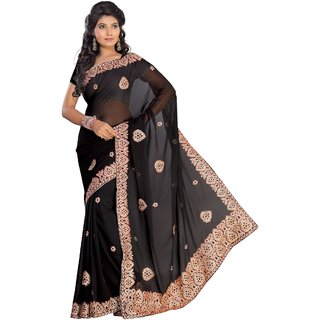 florence clothing company Black Chiffon Embroidered Saree With Blouse
