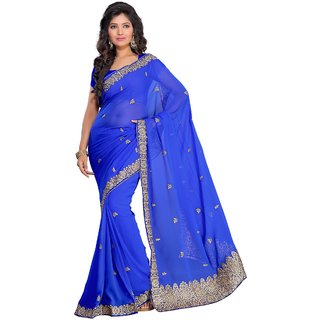 florence clothing company Blue Chiffon Embroidered Saree With Blouse