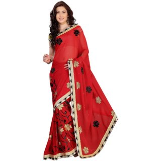 florence clothing company Red Chiffon Lace Saree With Blouse