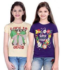 SINIMINI GIRLS FASHIONABLE TOP ( PACK OF 2 )SMH600_BEIGE_PURPLE