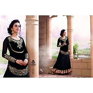Designer black georgette anarkali salwar suit