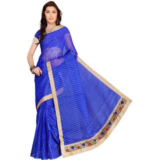 Florence Blue Jacquard Embroidered Saree (FL-10570)