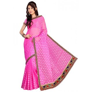 Florence Pink Jacquard Embroidered Saree (FL-10574)
