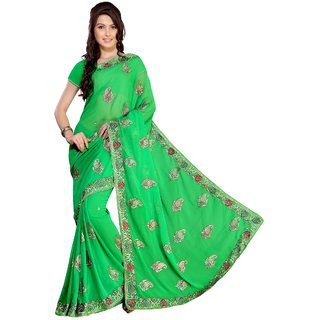 florence clothing company Turquoise Chiffon Embroidered Saree With Blouse