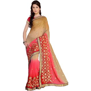 florence clothing company Pink Chiffon Embroidered Saree With Blouse