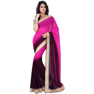 Florence Pink  Black Chiffon Embroidered Saree (FL-10583)