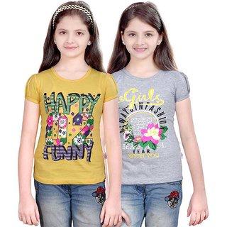 SINIMINI GIRLS FASHIONABLE TOP ( PACK OF 2 )SMH600_LYELLOW_WMELANGE