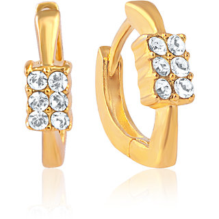 Mahi Gold Plated Lush Shine Earrings With Crystals