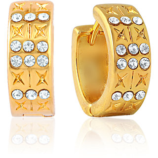 Mahi Gold Plated Indian Sophistication Earrings With Crystals