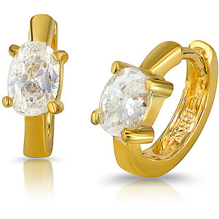 Mahi Gold Plated Pure Exuberance Earrings With Crystals