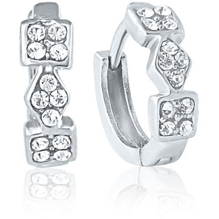 Mahi Rhodium Plated Geometric Entice Earrings With Crystals