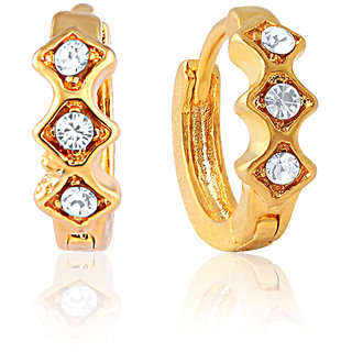 Mahi Gold Plated Classic Three Earrings With Crystals