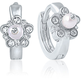 Mahi Rhodium Plated Nakshatra Earrings With Crystals
