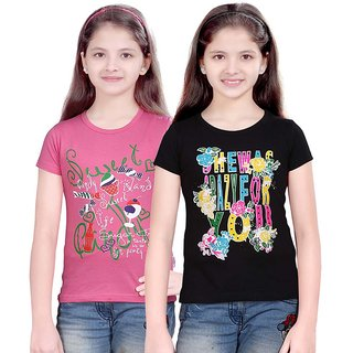 SINIMINI FASHIONABLE GIRLS TOP ( PACK OF 2 )SMH600MPINKBLACK