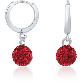 Mahi Rhodium Plated Dangling Beauty Red Bali With Swarovski Stones