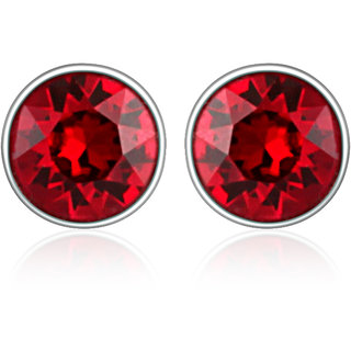 Mahi Rhodium Plated Red Bolt Earrings Made With Swarovski Elements
