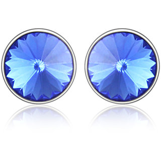 Mahi Rhodium Plated Bold Blue Earrings Made With Swarovski Elements