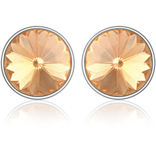 Mahi Rhodium Plated Bold Brown Earrings Made With Swarovski Elements