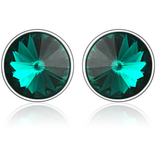 Mahi Rhodium Plated Bold Green Earrings Made With Swarovski Elements