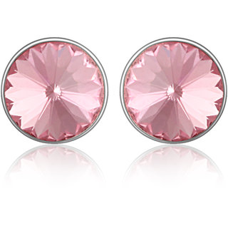 Mahi Rhodium Plated Bold Pink Earrings Made With Swarovski Elements
