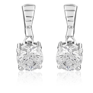 Mahi Rhodium Plated Motion Earrings With Swarovski Zirconia Stones