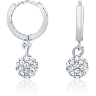 Mahi Rhodium Plated Royal Silver Sparklers Earrings With Crystal Stones