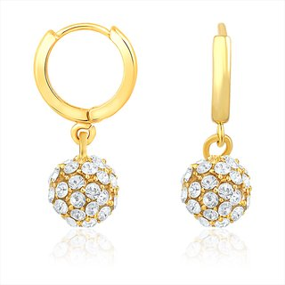 Mahi Gold Plated Royal Gold Sparklers Earrings With Crystal Stones