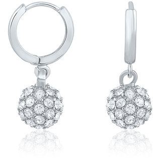 Mahi Rhodium Plated Royal Silver Sparklers Earrings With Crysatl Stones