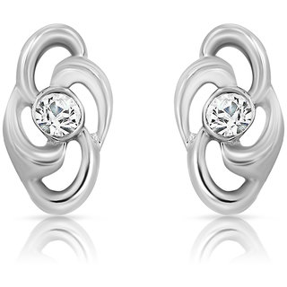Mahi Rhodium Plated Treasure Earrings With Crystals