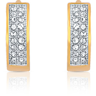 Mahi Gold Plated Gleam And Glow Earrings With Crystals