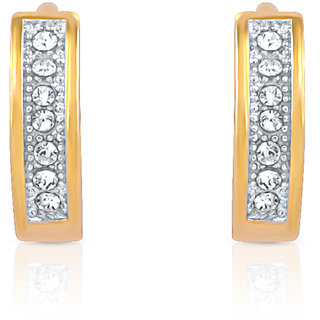 Mahi Gold Plated Array Shine Earrings With Crystals