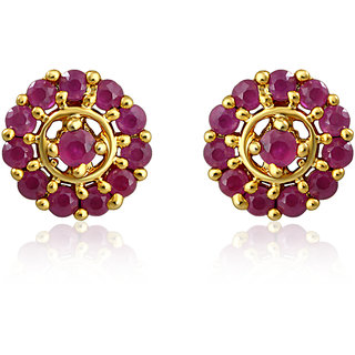 Mahi Gold Plated Luring Flame Earrings With Ruby Stones