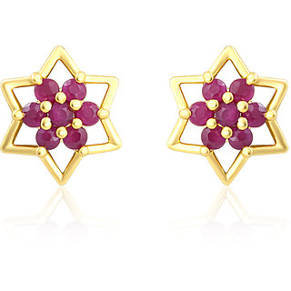 Mahi Gold Plated Red Stars Earrings With Ruby Stones