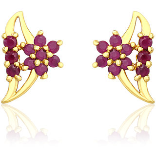 Mahi Gold Plated Dazzle Cherry Earrings With Ruby Stones