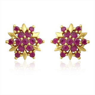 Mahi Gold Plated Red Burst Earrings With Ruby Stones